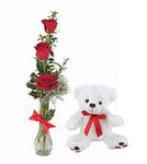 Rose Trio Vase w/ Small Plush