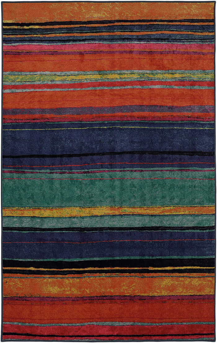 Marina Color Bands Orange & Blue Area Rug
