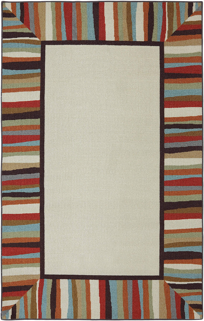 Bloom Patio White & Brown Area Rug