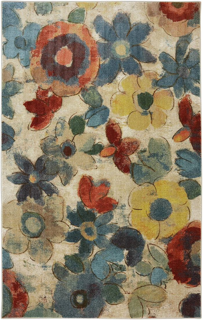 Lucia Flower Blue & Red Area Rug