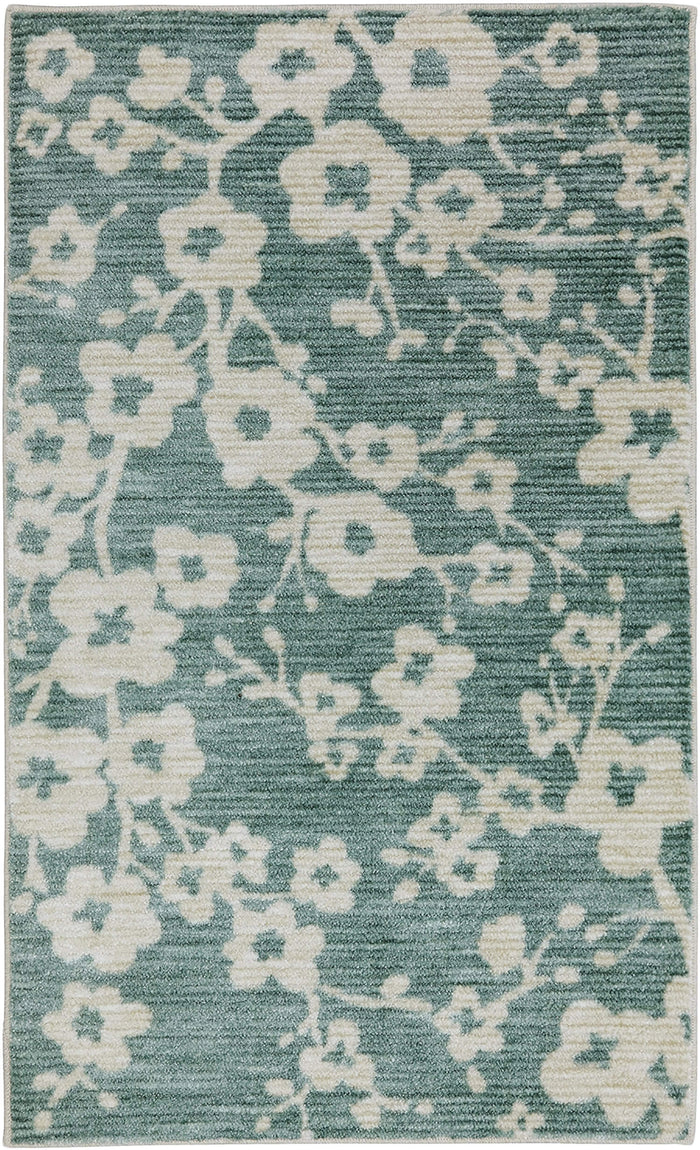 Lucia Fitzroy Floral Blue Area Rug