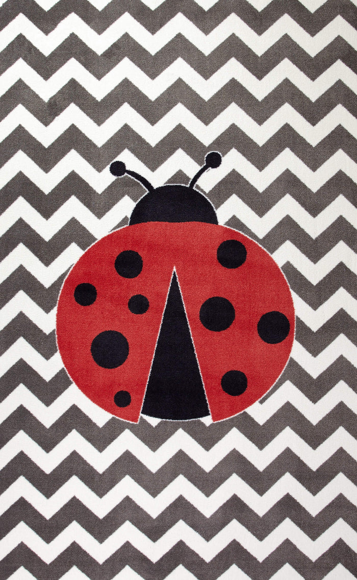 Lucia Lucky Lady Bug Gray & Red Area Rug