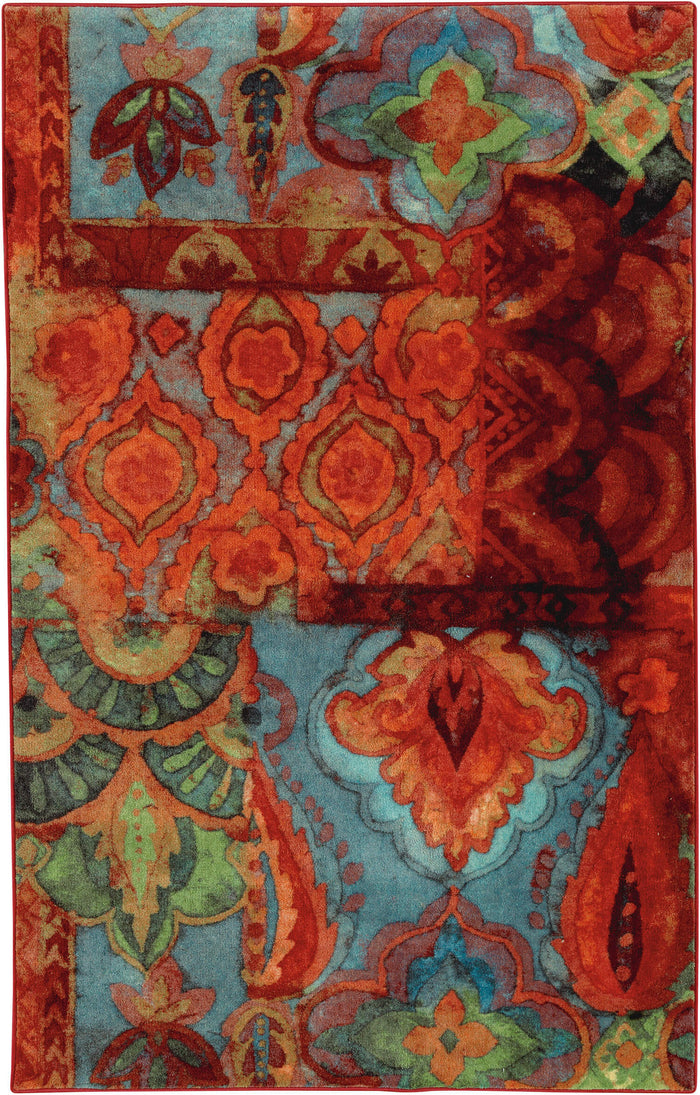 Lucia Bold Bohemian Red & Blue Area Rug
