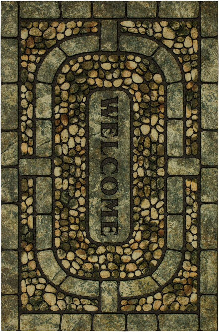 Villa Conservatory Gray & White Door Mat