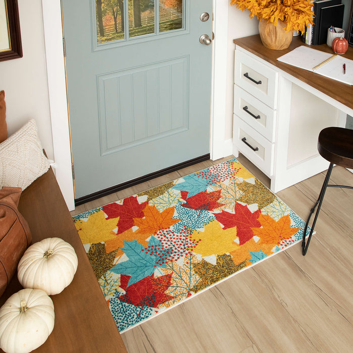 Multi Color Leaves Accent Rug