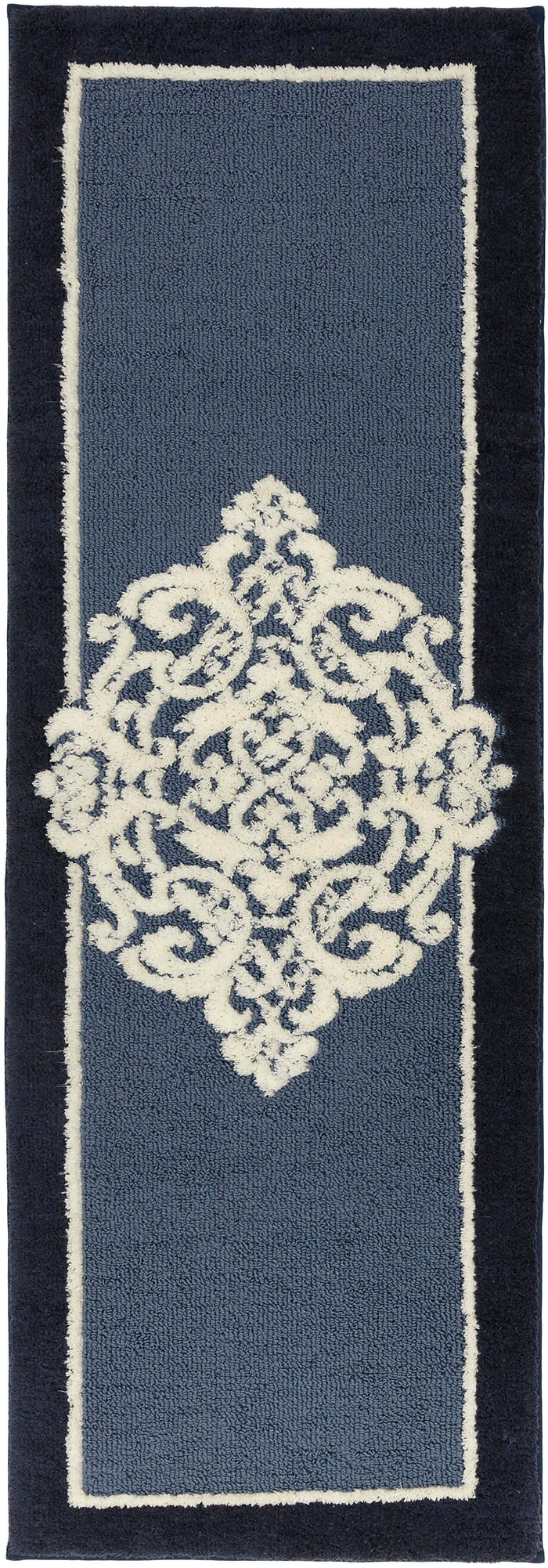 Compass Navy Blue Bath Mat Covered By Rugs