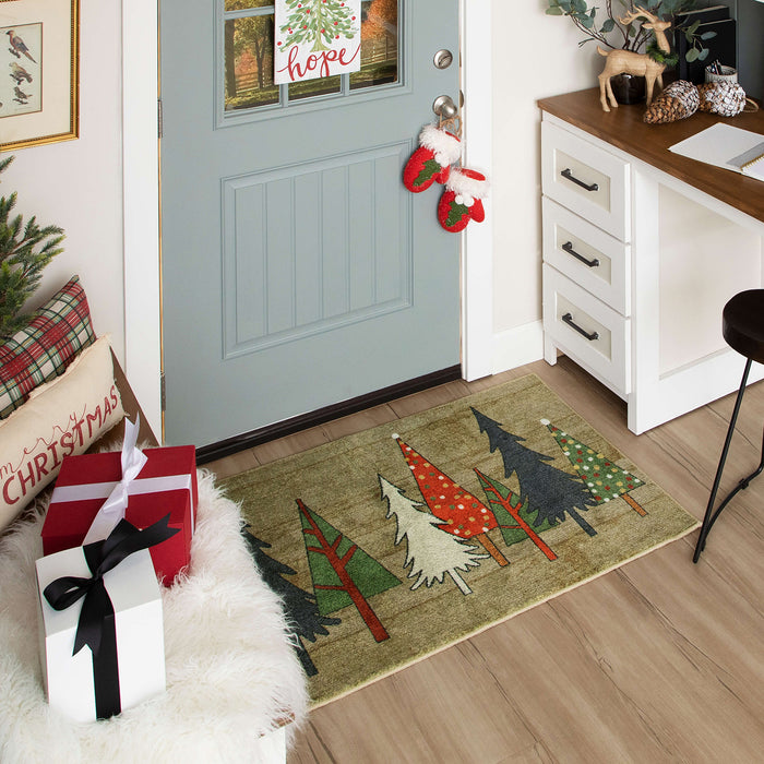 Wooden Holiday Trees Multi Accent Rug