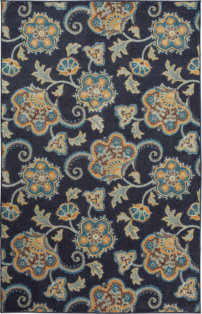 Technicolor Lacey Blue & Brown Area Rug