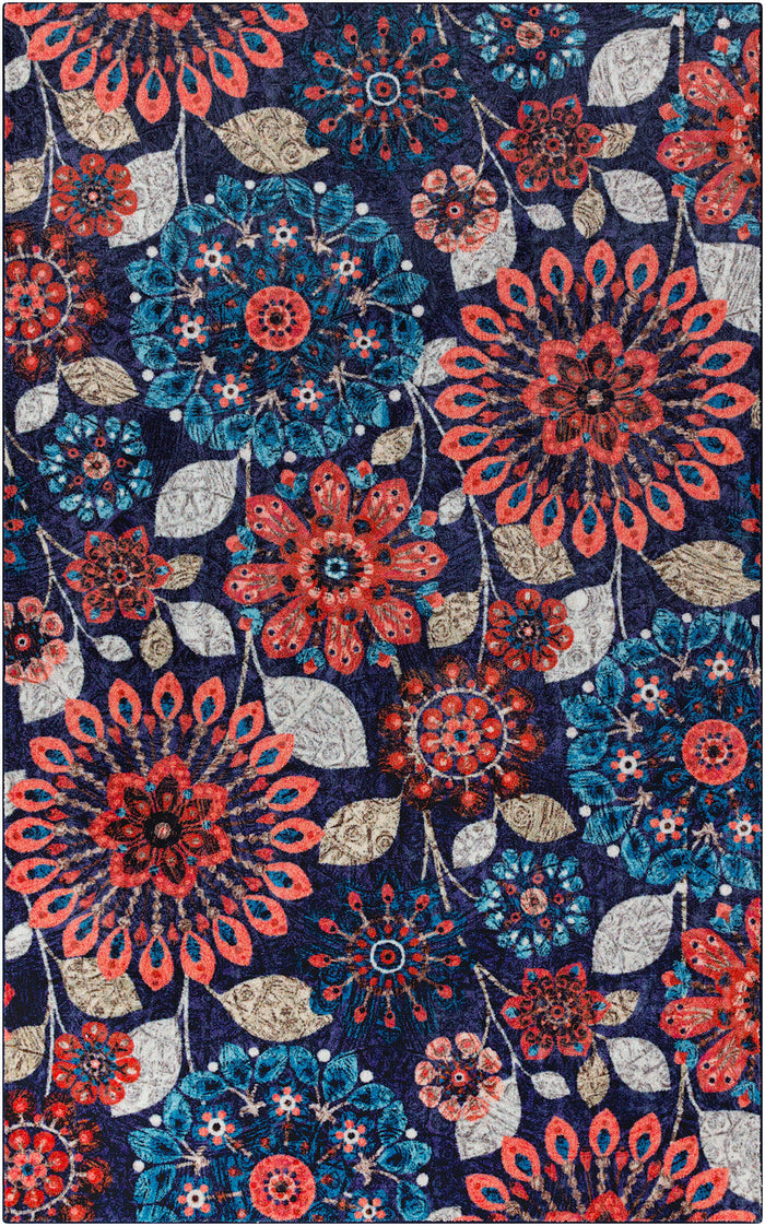 Technicolor Vintage Blue & Orange Area Rug