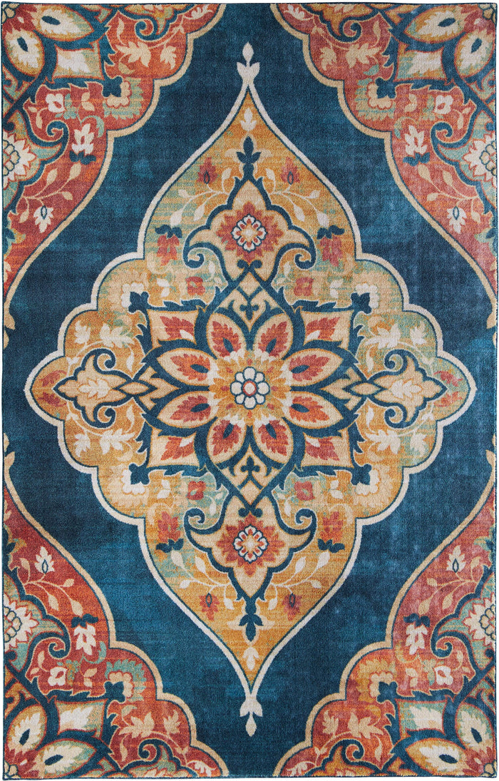 Technicolor Medallion Blue & Orange Area Rug