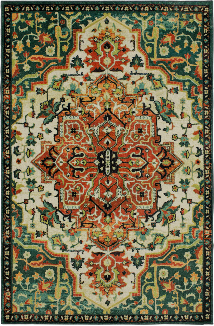 Technicolor Emilie Green Area Rug