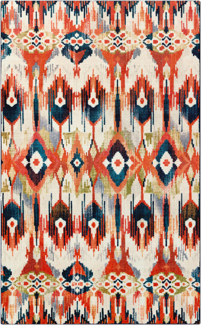 Technicolor Kochi White & Orange Area Rug