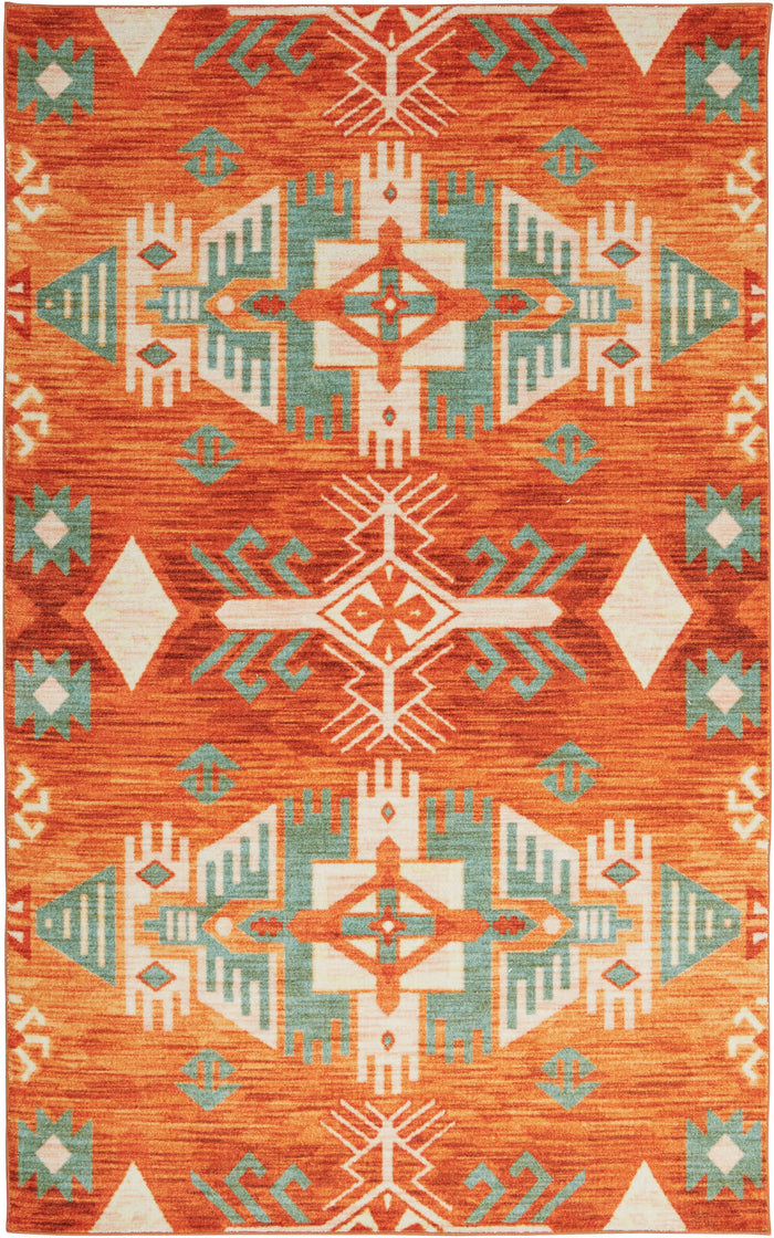 Technicolor Aztec Orange Area Rug