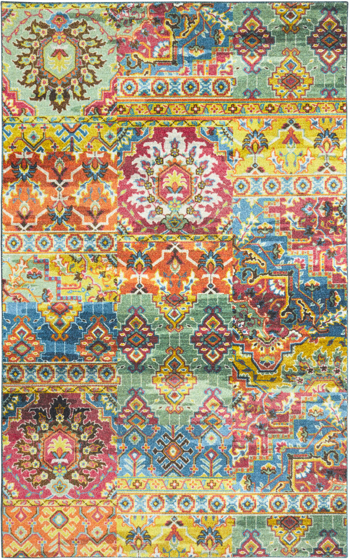 Technicolor Surat Green & Orange Area Rug