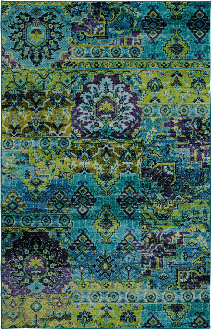 Technicolor Surat Green & Blue Area Rug