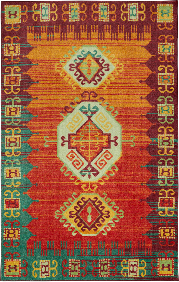 Technicolor Legends Orange & Blue Area Rug
