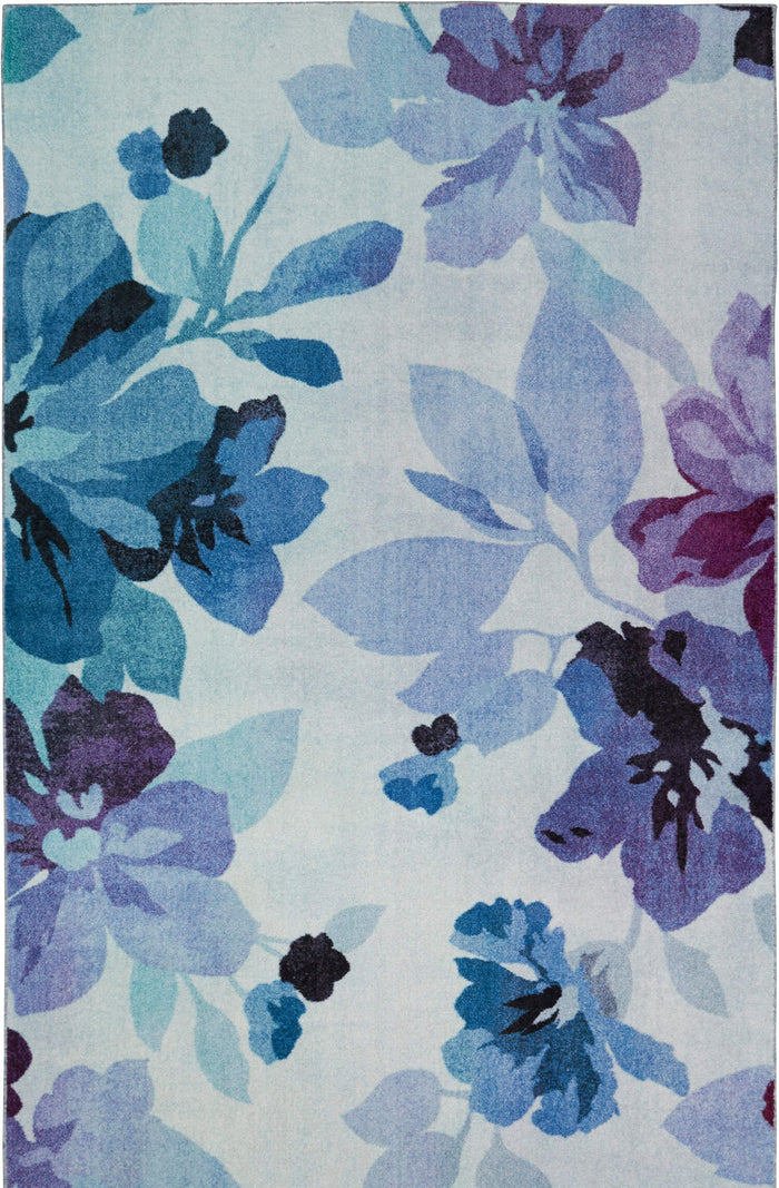 Picture of: Technicolor Blooms Blue Purple Area Rug Covered By Rugs