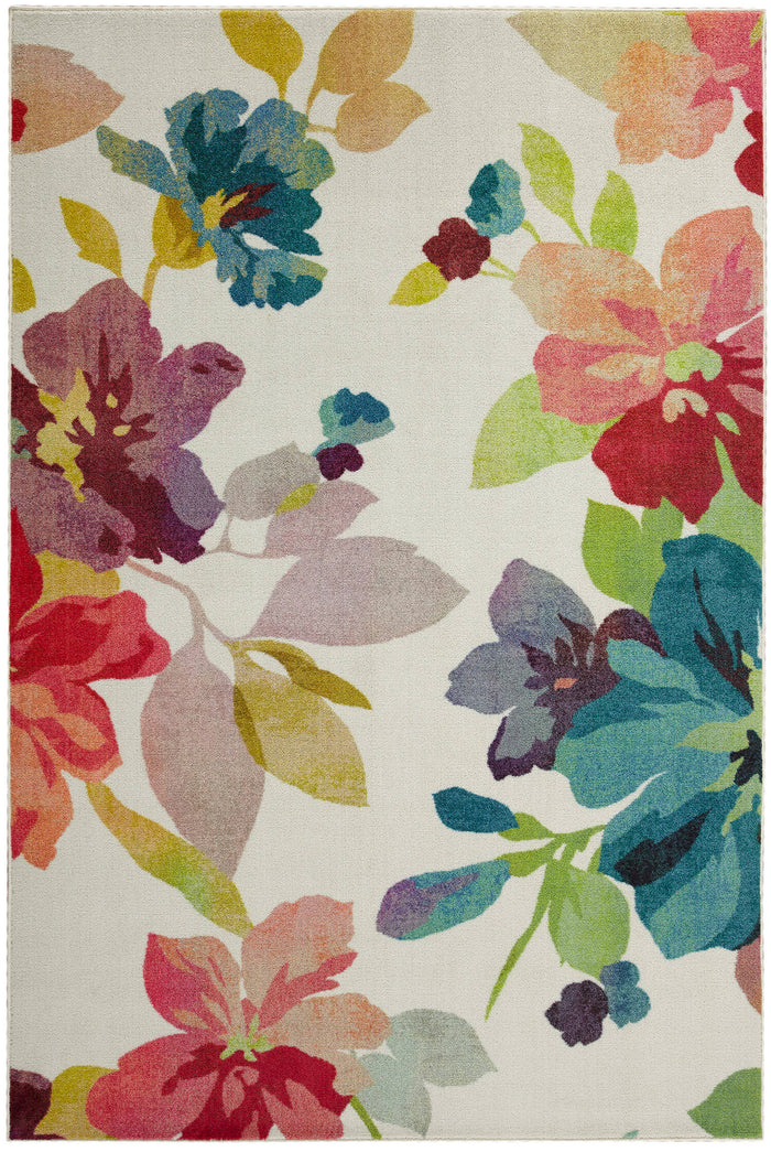 Technicolor Blooms White & Pink Area Rug