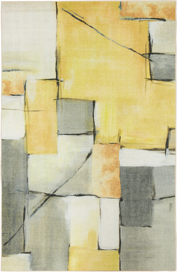Technicolor Artistic Geo Gray & Yellow Area Rug
