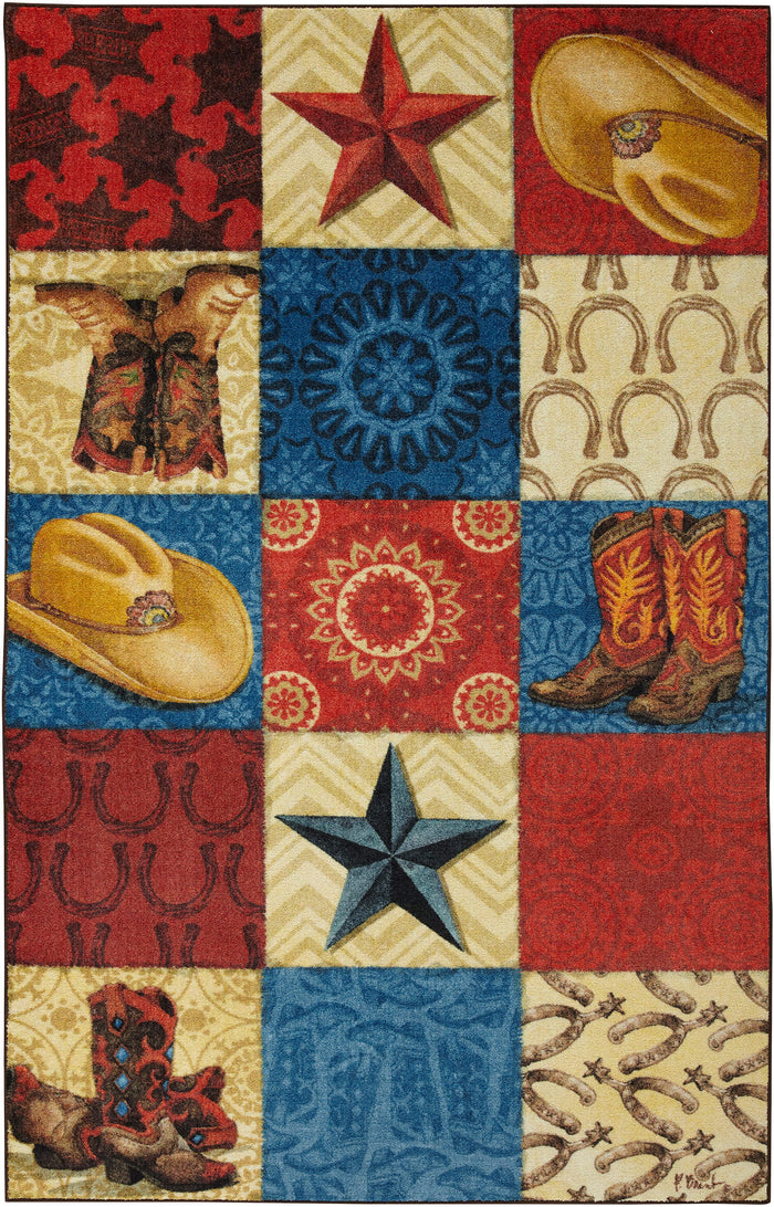 Technicolor Cowboy Red & Blue Area Rug