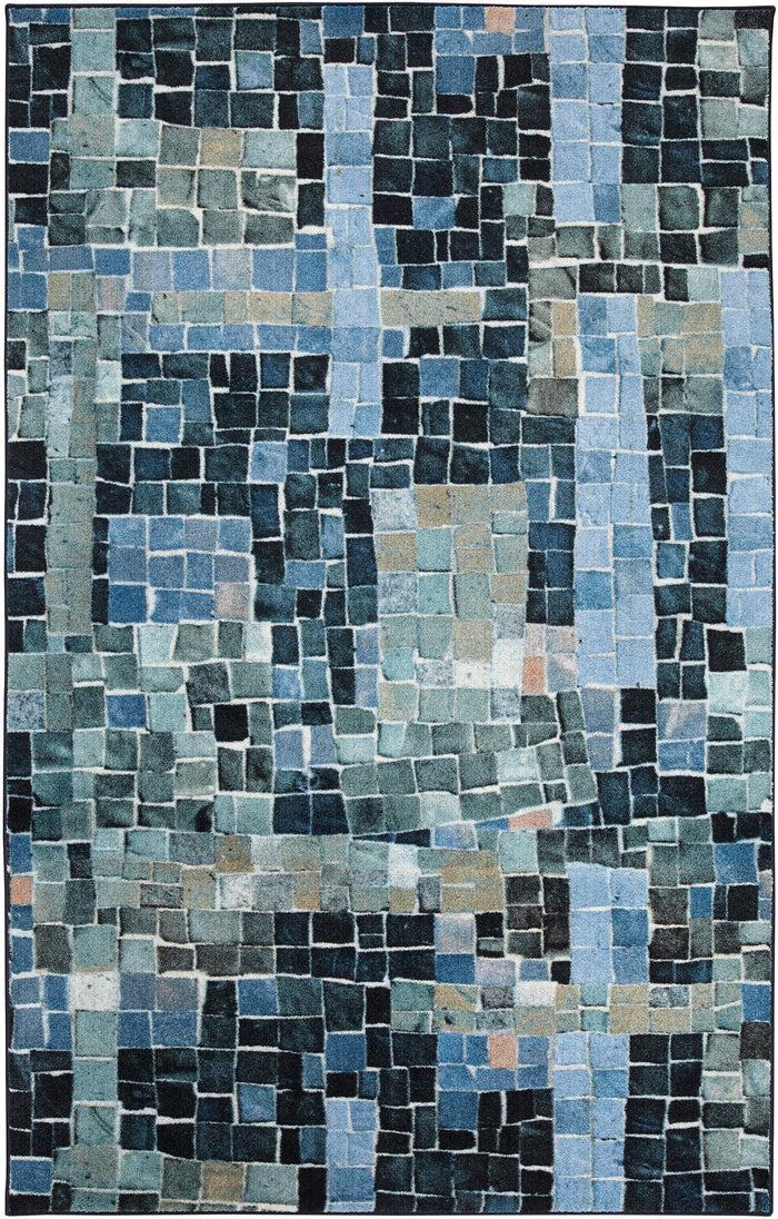 Technicolor Cobblestone Chic Blue Area Rug