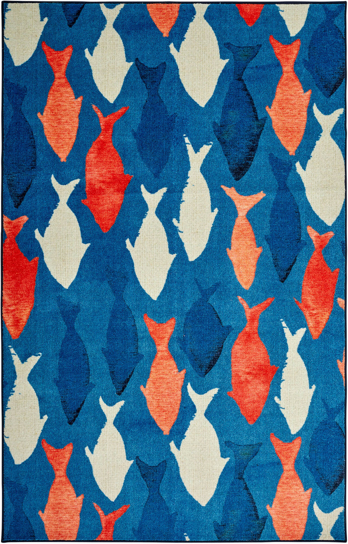 Technicolor Catch Blue & Orange Area Rug