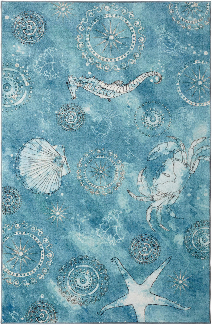 Technicolor Seaside Splash Blue Area Rug