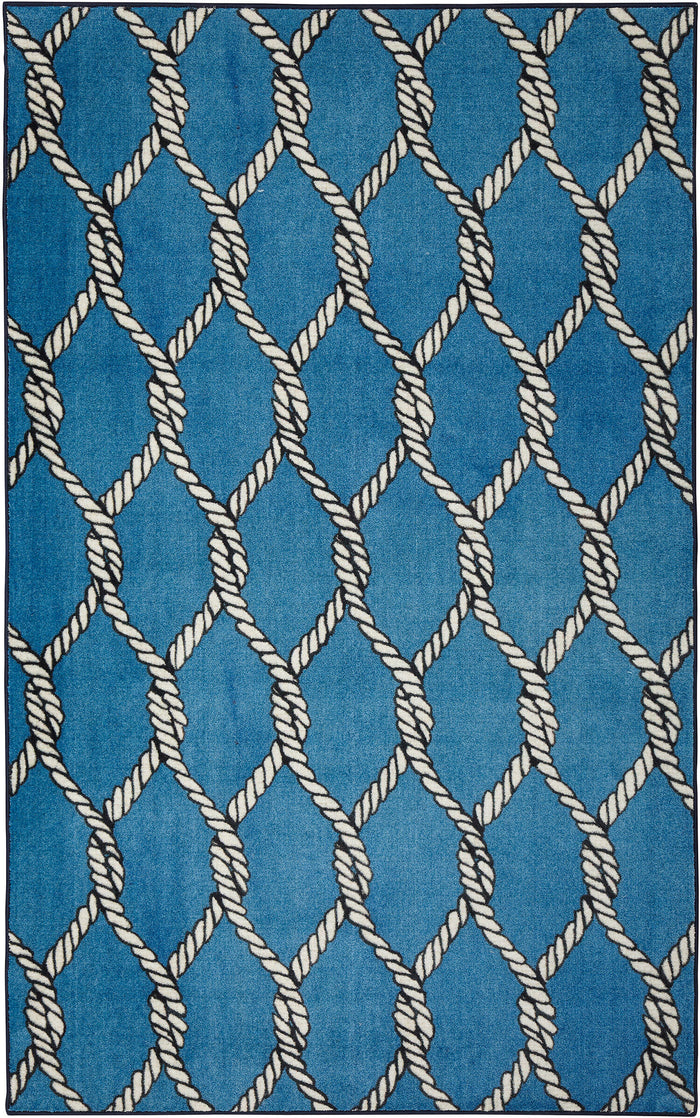 Technicolor Netting Blue Area Rug