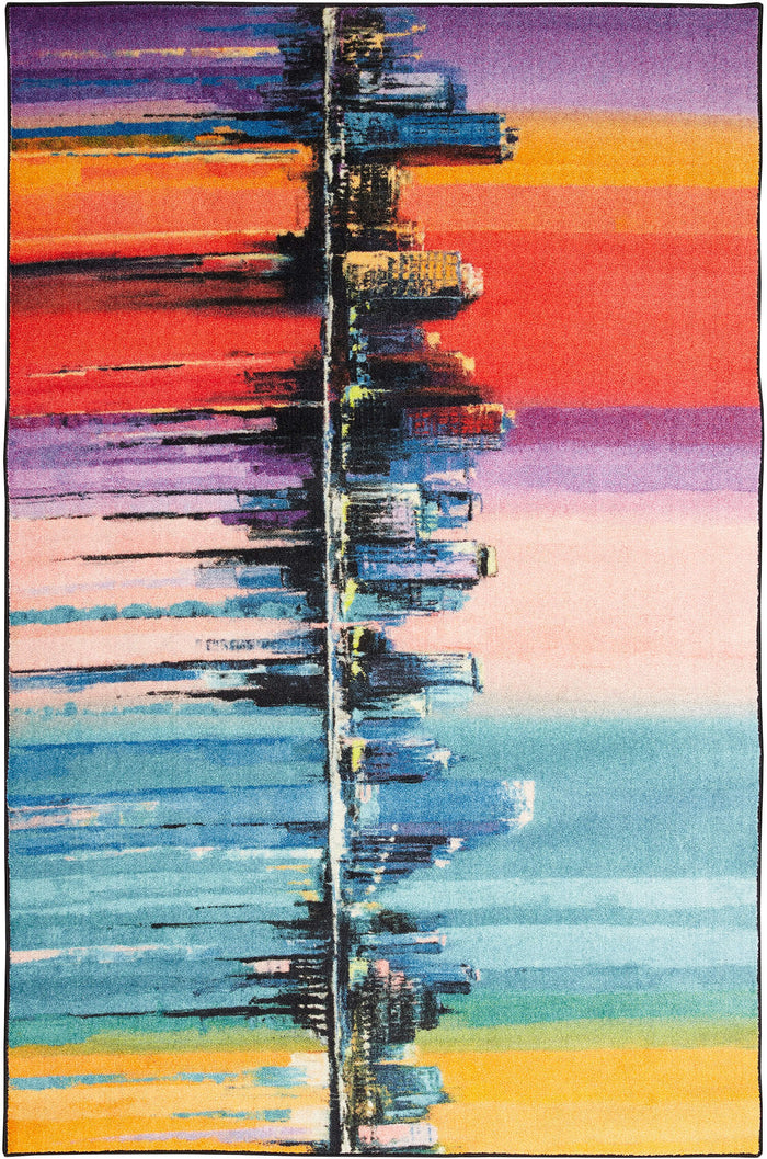 Technicolor Skyline Blue & Purple Area Rug
