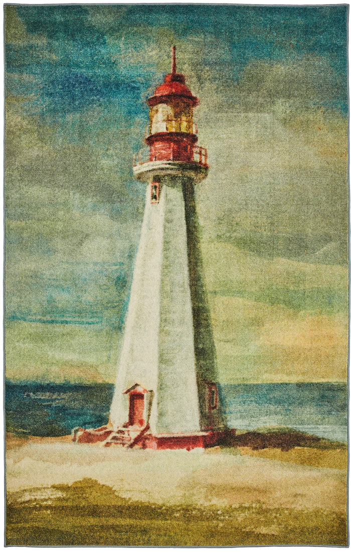 Technicolor Lighthouse Blue & Green Area Rug
