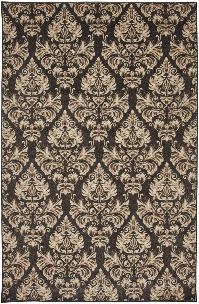 Technicolor Damask Gray Area Rug