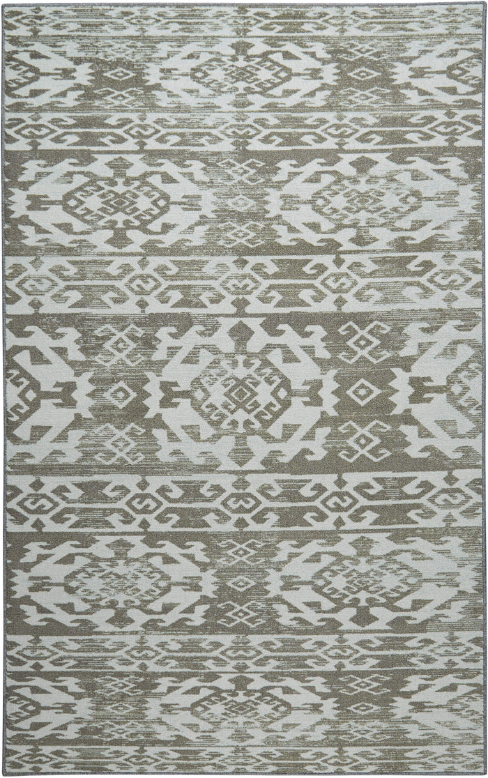 Technicolor Mission Gray & White Area Rug