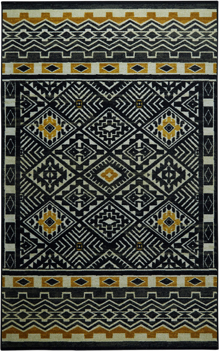 Technicolor Norfolk Black & Gold Area Rug
