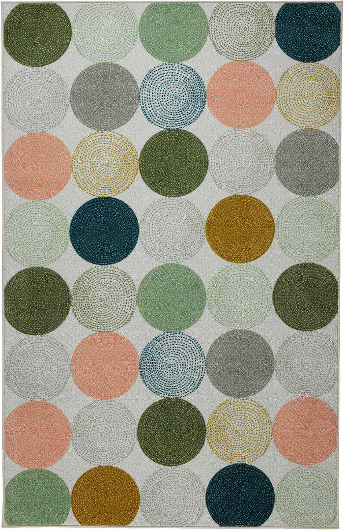 Technicolor Lottie White & Blue Area Rug