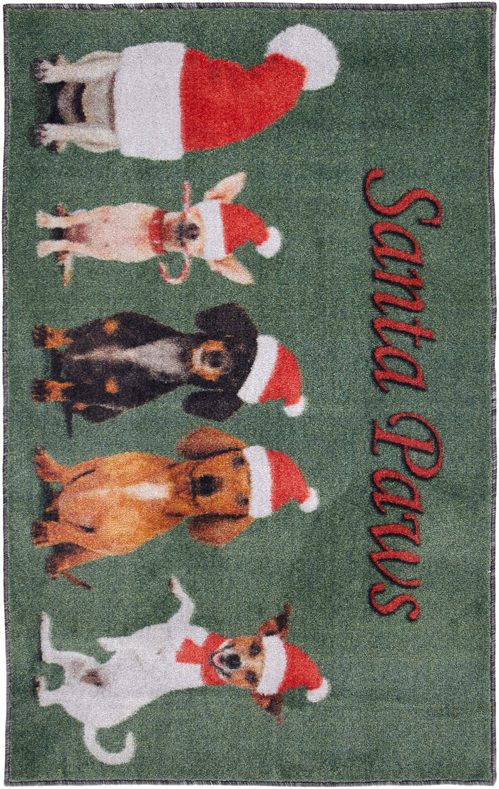 Technicolor Santa's Puppy Gray & Red Mat