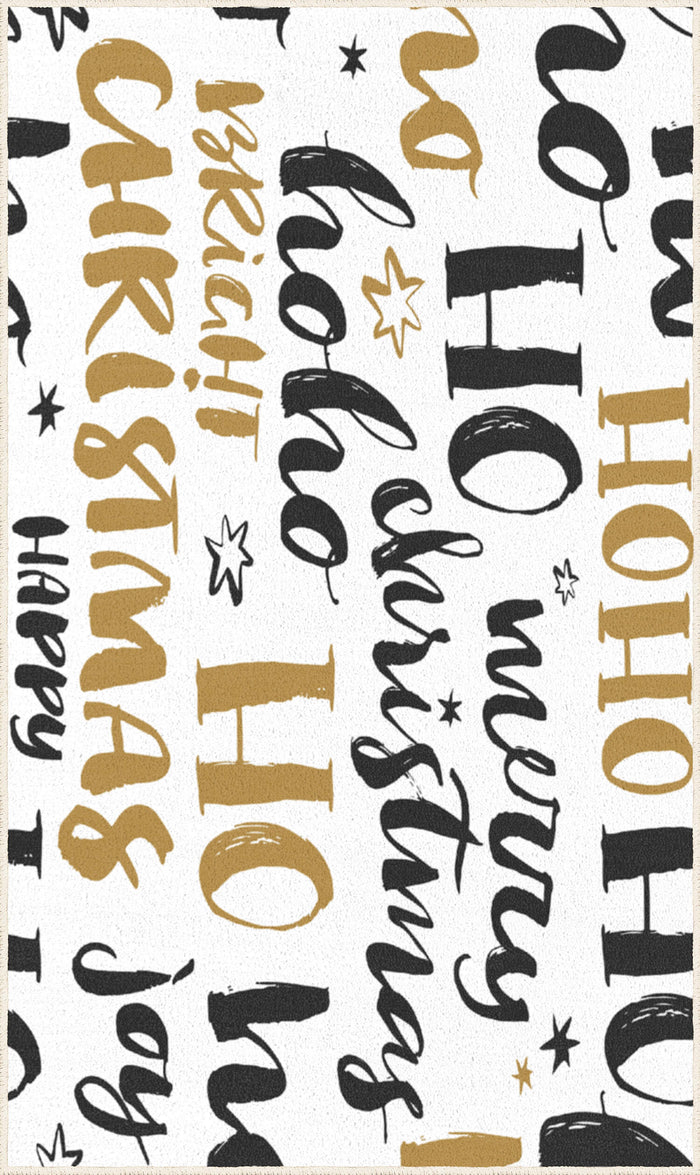 Gold Holiday Greetings Gold & White Mat