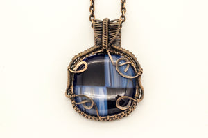 streaked-blue-black-fused-glass-pendant-copper-wire-wrapping-nymph-in-the-woods-jewelry