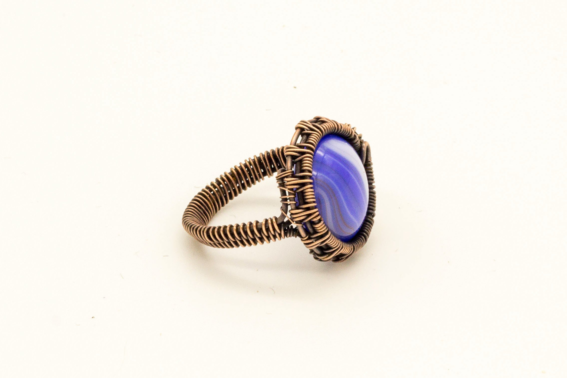blue-streaked-fused-glass-copper-wire-wrapped-ring-nymph-in-the-woods-jewelry