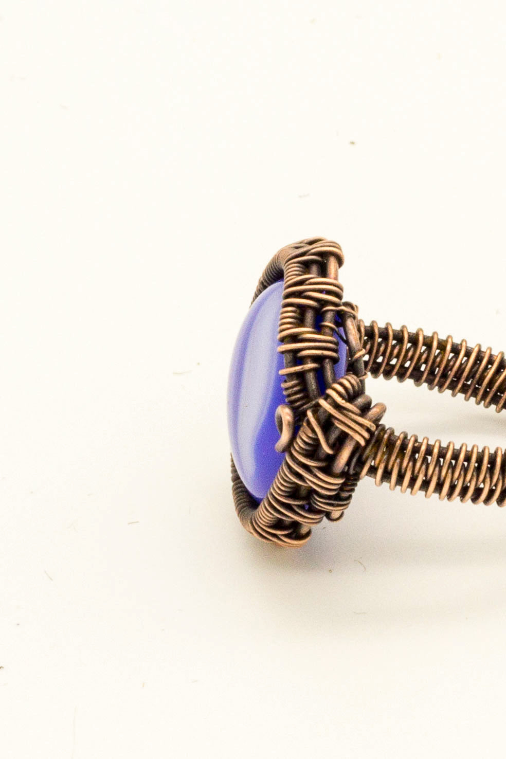 streaked-blue-fused-glass-copper-wire-wrapped-ring-nymph-in-the-woods-jewelry