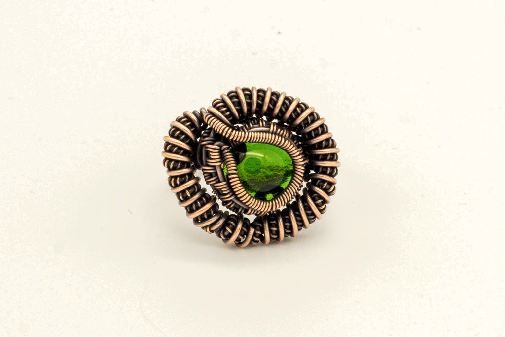 green-transparent-fused-glass-copper-wire-wrapped-ring-nymph-in-the-woods-jewelry
