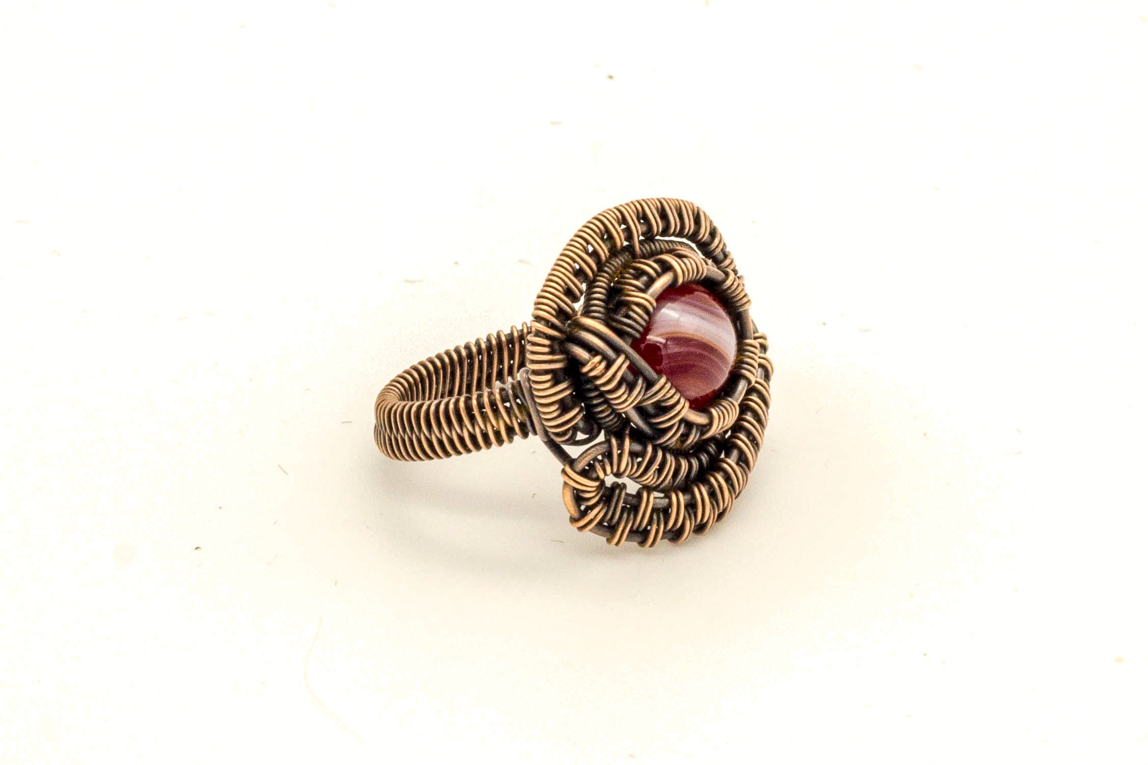 copper-wire-wrapped-ring-red-white-fused-glass-nymph-in-the-woods-jewelry