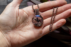 Dreamy Fairy Pendant on Iridescent Fused Glass with Copper Wire Wrapping