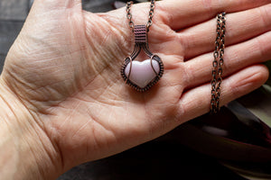 Pink Heart Fused Glass Pendant with Copper Wire Wrapping