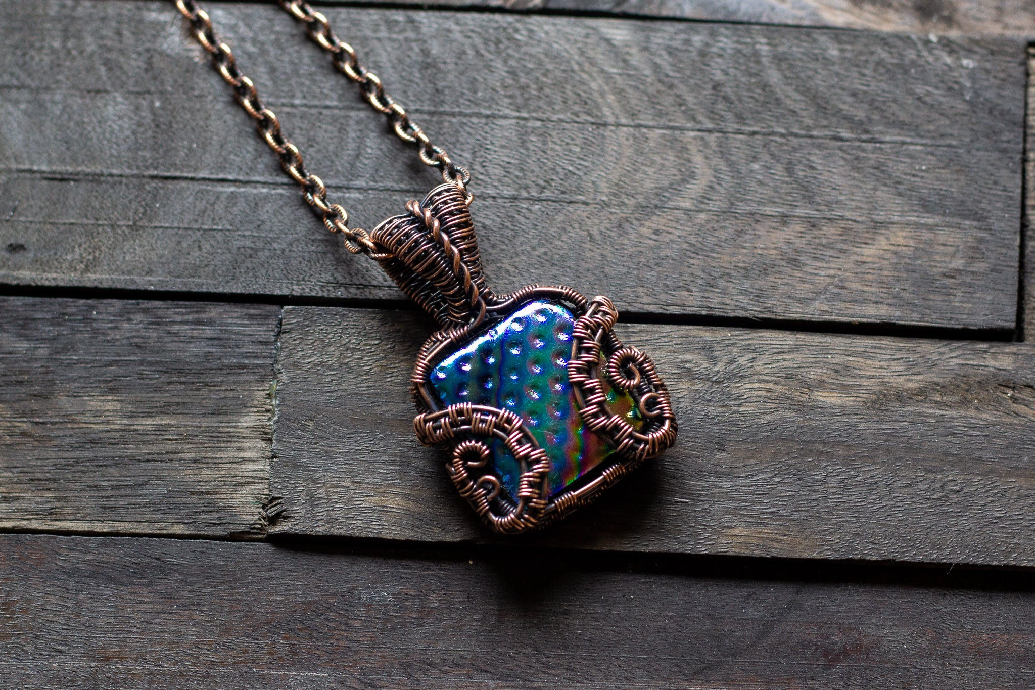 Rainbow Dichroic Fused Glass Pendant with Copper Wire Wrapping