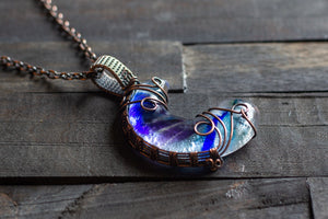 Blue and Purple Fused Glass Moon Pendant with Copper Wire Wrapping