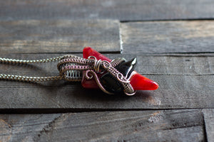 Red and Black Fused Glass Pendant with Sterling Silver Wire Wrapping