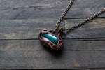 Dichroic Green and White Fused Glass Pendant with Copper Wire Wrapping