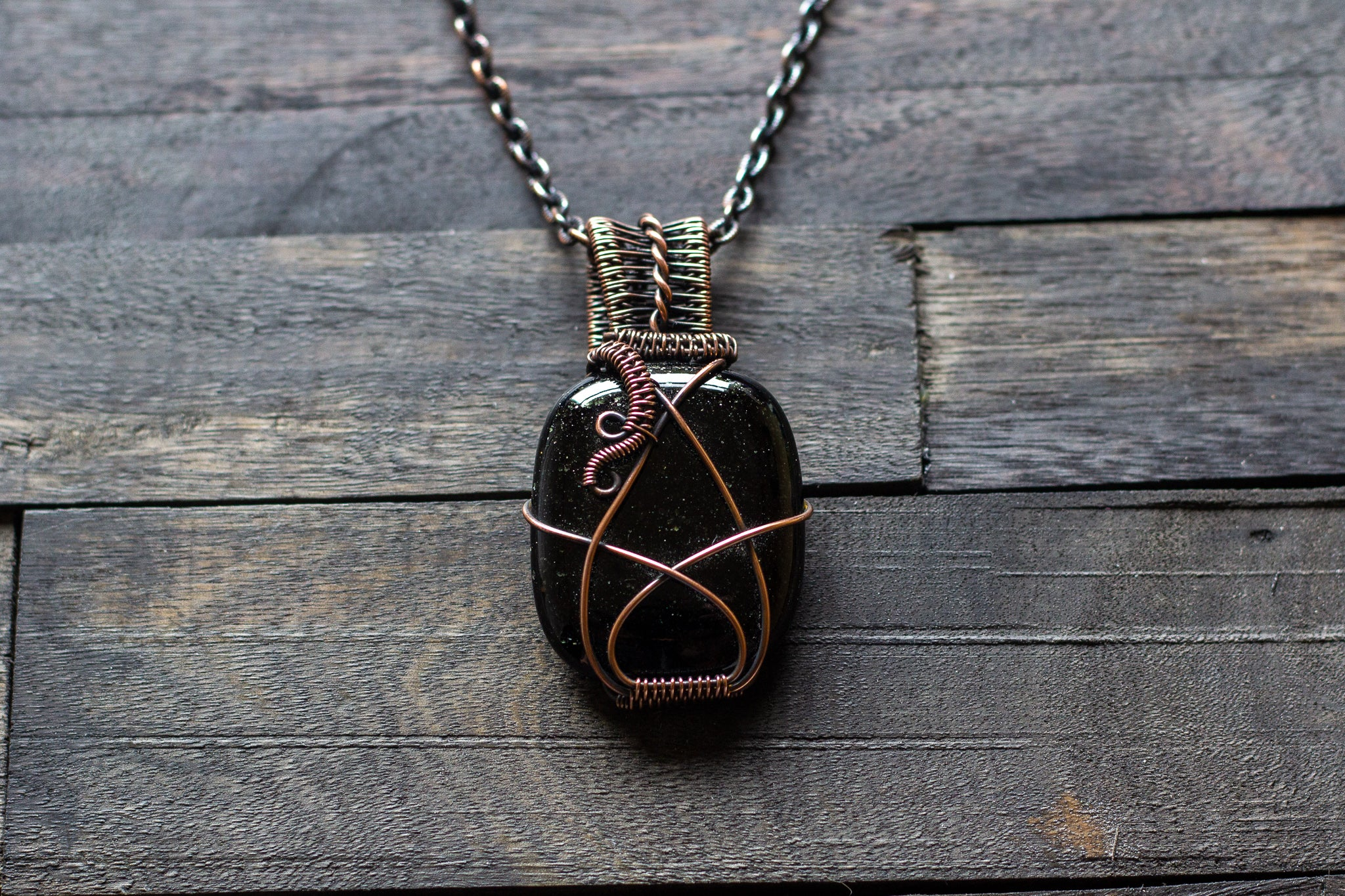 Glittery Dichroic Black Glass Pendant with Copper Wire Wrapping