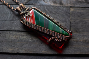 Green and Red Fused Glass Statement Pendant with Copper Wire Wrapping