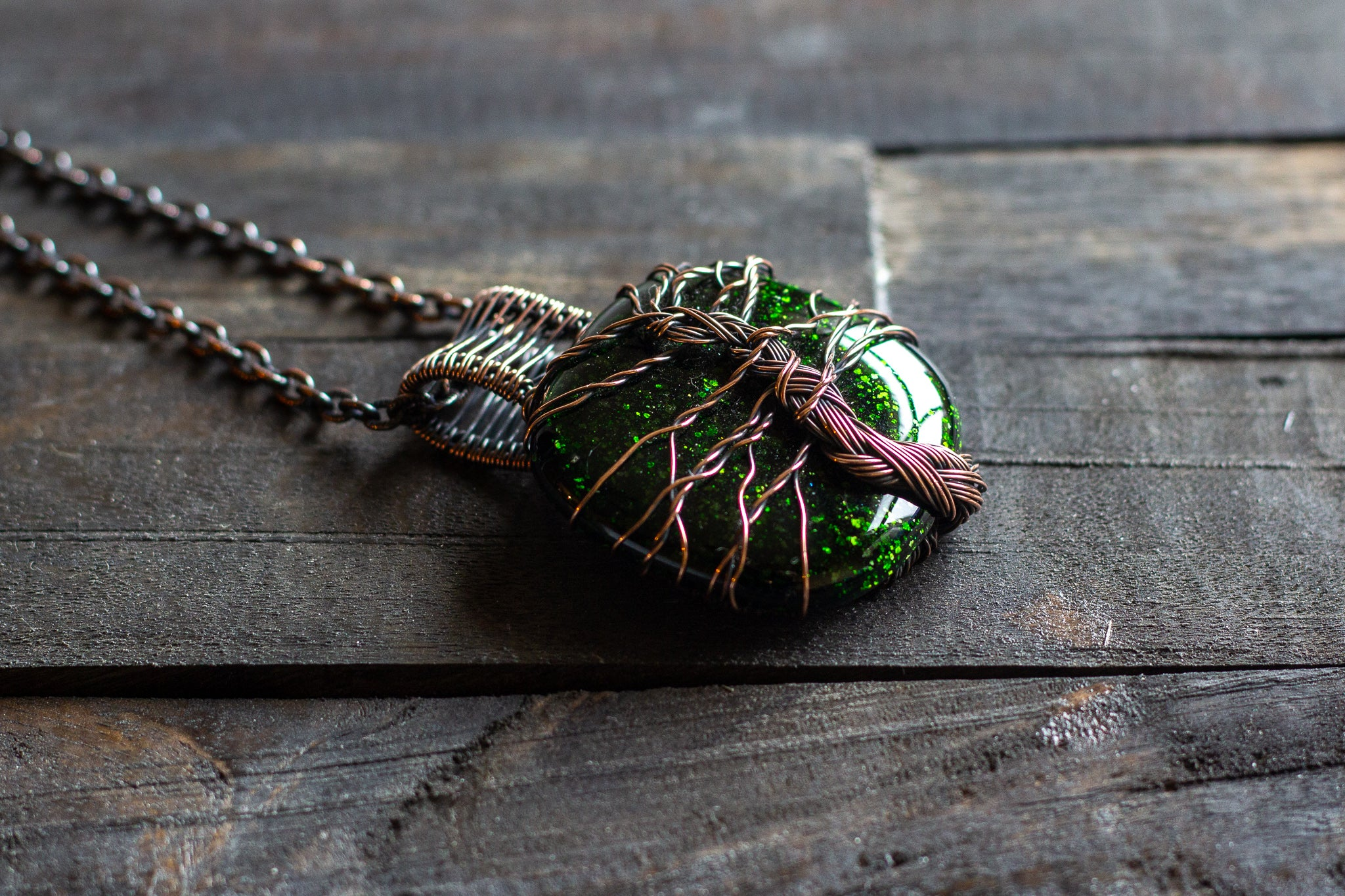 Green Dichroic Fused Glass Pendant with Copper Tree of Life